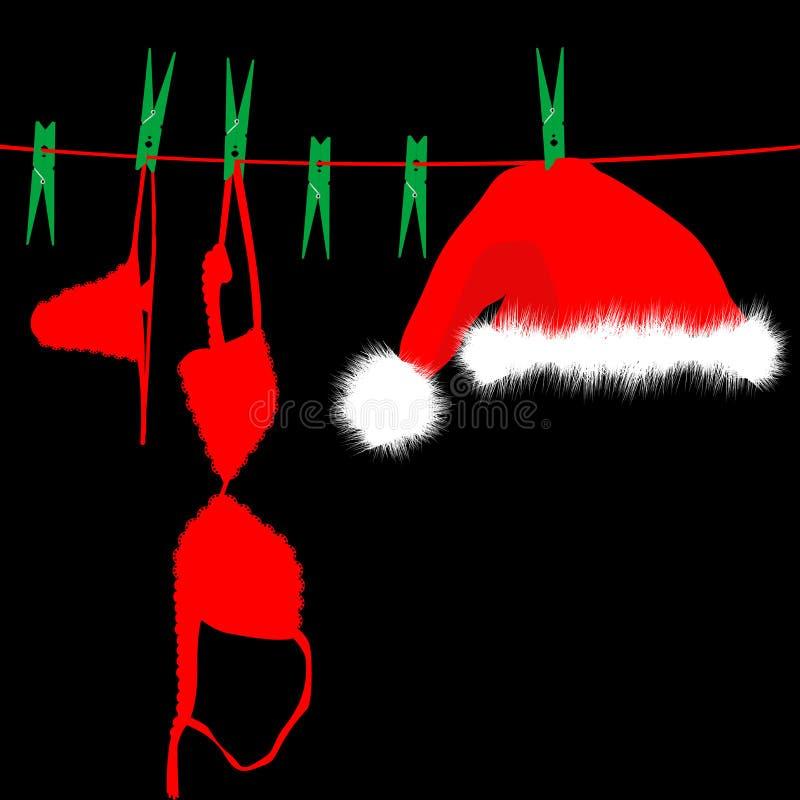 垂悬的红色内衣和圣诞老人帽子在晒衣绳 皇族释放例证