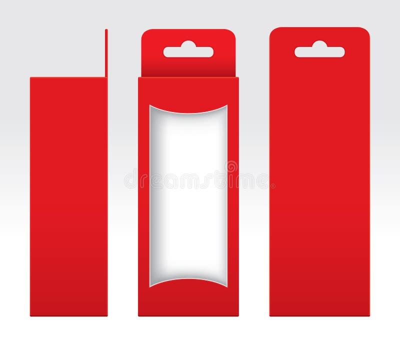垂悬的红色箱子窗口删去了包装的模板空白,空的箱子红色纸板,礼物盒红色卡拉服特包裹纸盒优质红色 向量例证
