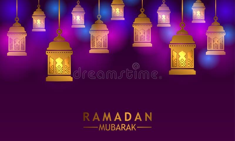 垂悬的金黄平的灯笼焕发有伊斯兰教的事件斋月穆巴拉克和kareem的紫色背景 库存例证
