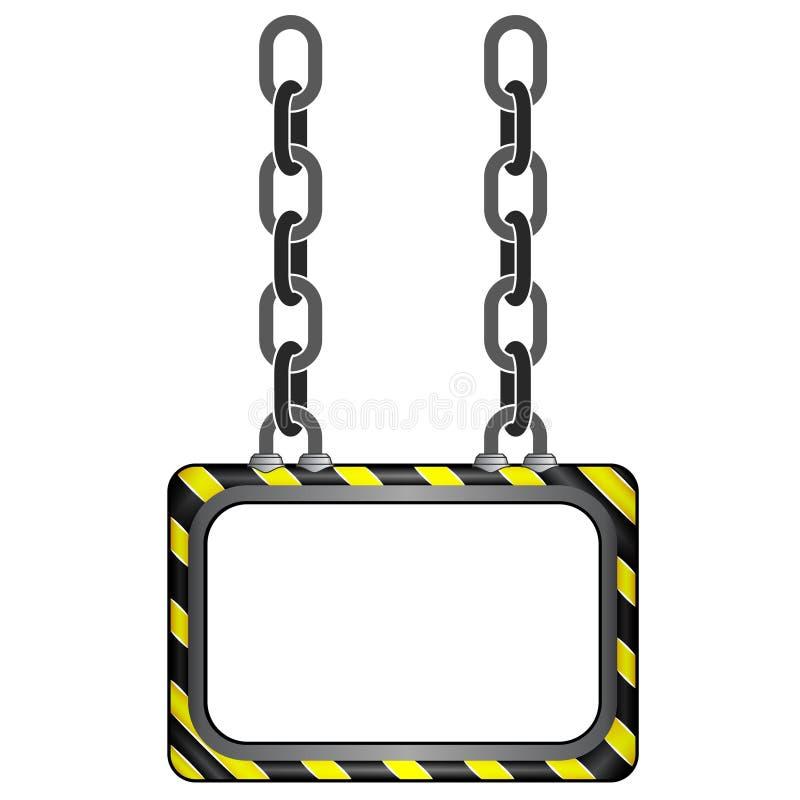 垂悬的黑黄色镶边链委员会模板 库存例证