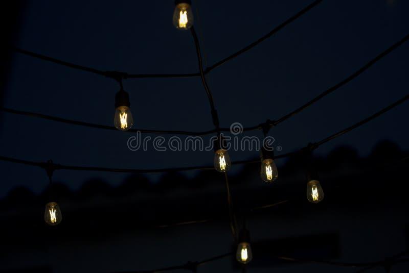 垂悬的LED电灯泡接通了 库存照片