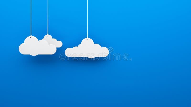 垂悬背景墙纸的玩具3d云彩 皇族释放例证