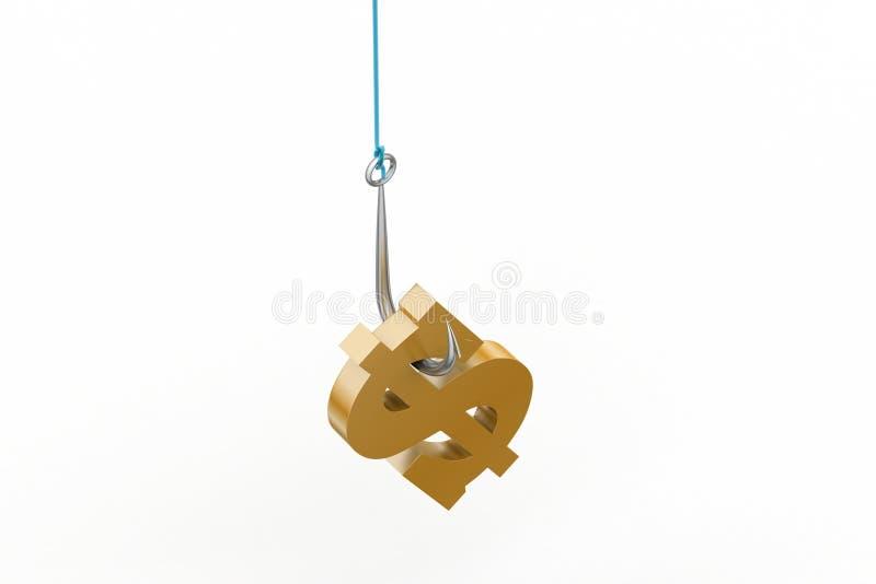 垂悬钓鱼钩的美元的符号 向量例证