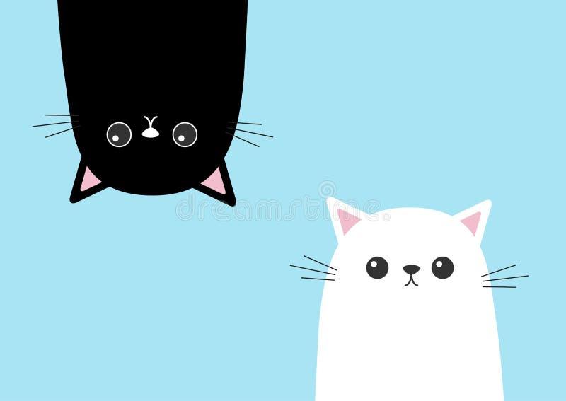 垂悬黑滑稽的猫头的剪影颠倒 白色小猫头面孔集合 逗人喜爱的漫画人物图片