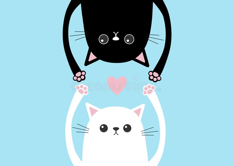 垂悬黑滑稽的猫头的剪影颠倒 白色小猫手 桃红色心脏爱卡片 眼睛,爪子印刷品 逗人喜爱的动画片ch 皇族释放例证