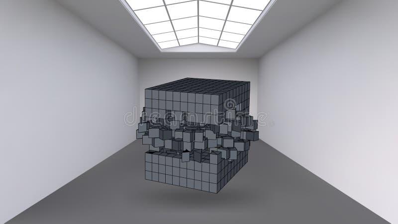 垂悬从一许多的立方体小多角形在大空的屋子 与抽象立方体形状的陈列空间 库存例证