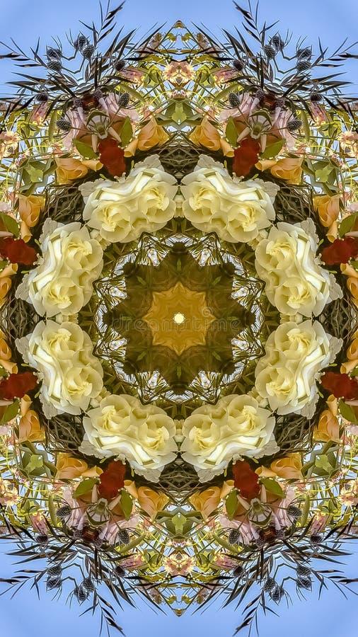垂直减弱在圆安排的黄色和白花的声音在婚礼在加利福尼亚 库存图片
