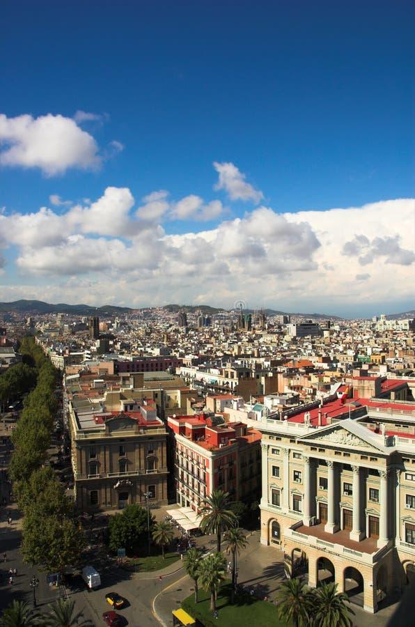 垂直巴塞罗那的ramblas 库存图片