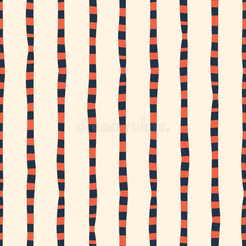垂直的不规则的手拉的条纹红色蓝色白色无缝的传染媒介背景 重复线提取样式 ?? 库存例证