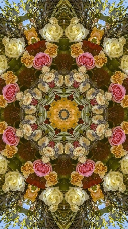 垂直的与一个温暖的颜色塑象的框架圆婚礼花设计 免版税库存图片