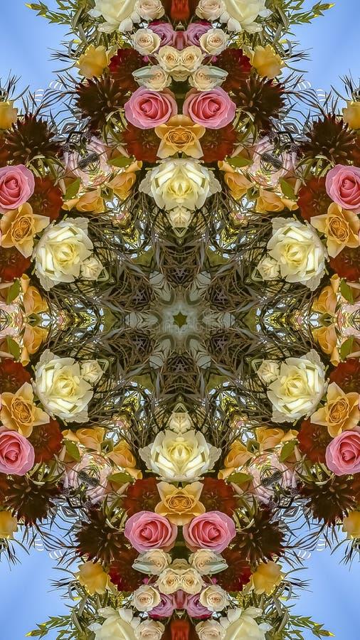 垂直的与红色橙色和白花的框架有角花卉设计在婚礼 库存照片