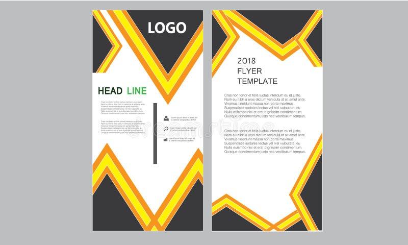 垂直的企业飞行物模板-卷起横幅新鲜的小册子年终报告-五颜六色的长的长度传单布局模板 库存例证