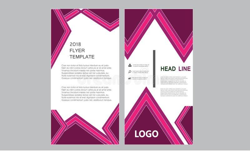 垂直的企业飞行物模板-卷起横幅新鲜的小册子年终报告-五颜六色的长的长度传单布局模板 皇族释放例证