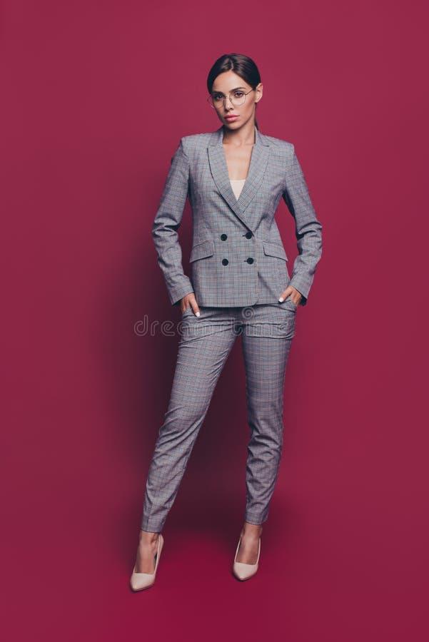 垂直的全长身体尺寸视图画象她她nice-looking优等俏丽有吸引力可爱夫人佩带灰色 免版税库存照片