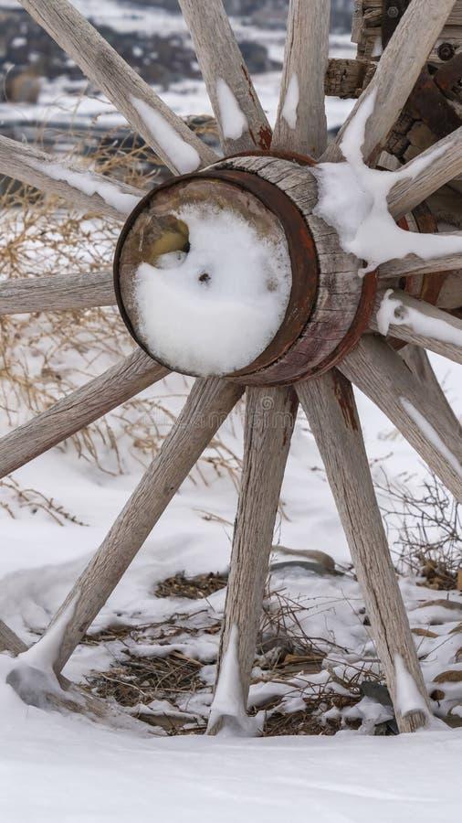 垂直的关闭一辆老无盖货车的木轮子反对一个多雪的地形的在冬天 库存图片