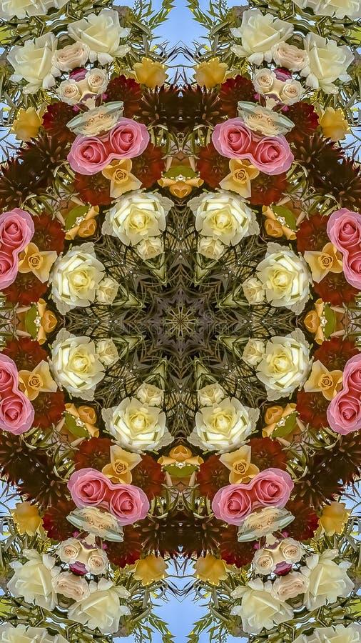 垂直的在圆安排的框架五颜六色的俏丽的花在婚礼在加利福尼亚 免版税库存照片
