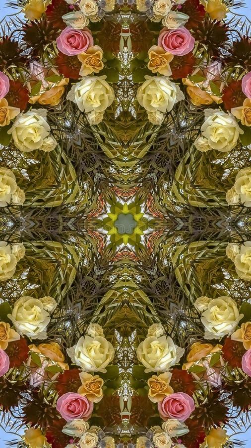 垂直的在婚礼的框架五颜六色的花卉设计被创造入一个装饰背景设计 免版税库存照片