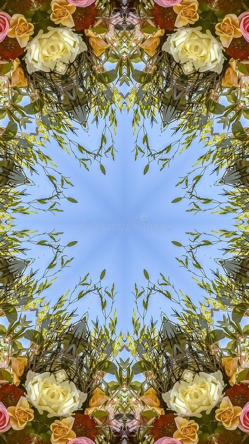 垂直的在日落的框架婚姻的花与五颜六色的圆设计 免版税库存照片