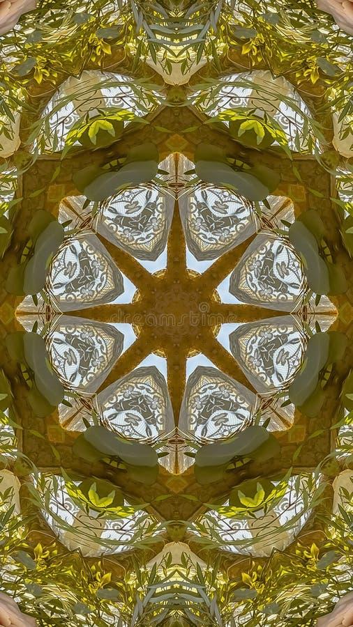垂直的小花和绿色叶子被做成抽象形状在加利福尼亚婚礼的日落 库存图片
