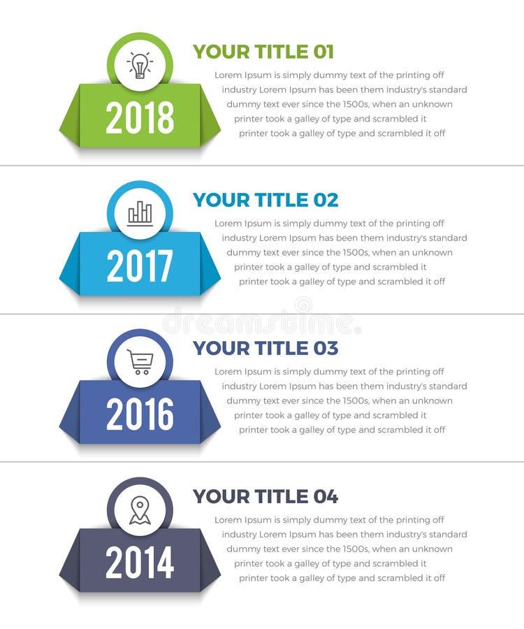 垂直的时间安排Infographics 库存例证