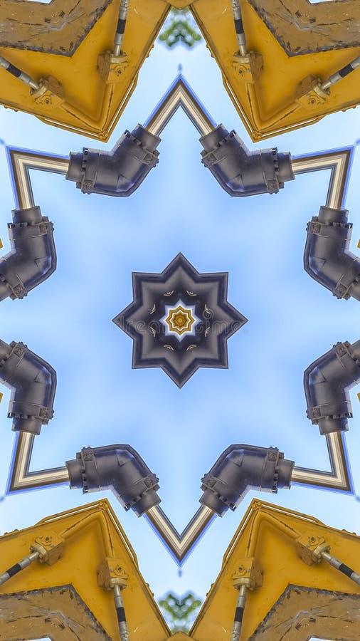 垂直的星形状由拖拉机胳膊做了 库存图片