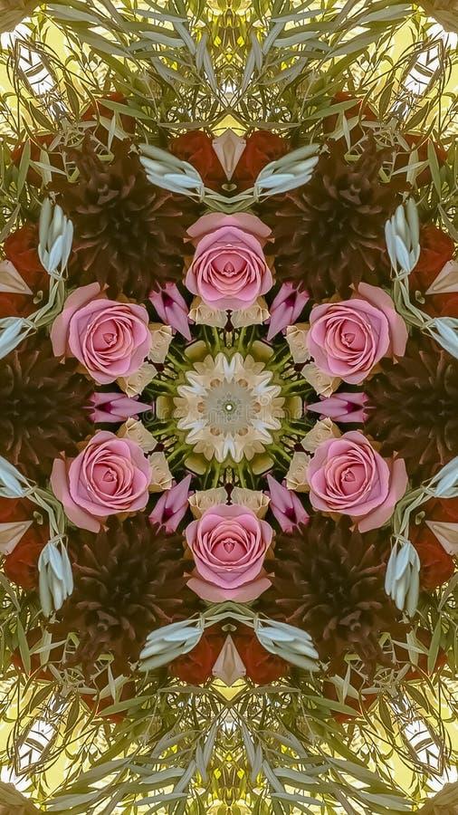 垂直的桃红色玫瑰和绿色叶子被做成抽象形状在加利福尼亚婚礼的日落 免版税图库摄影