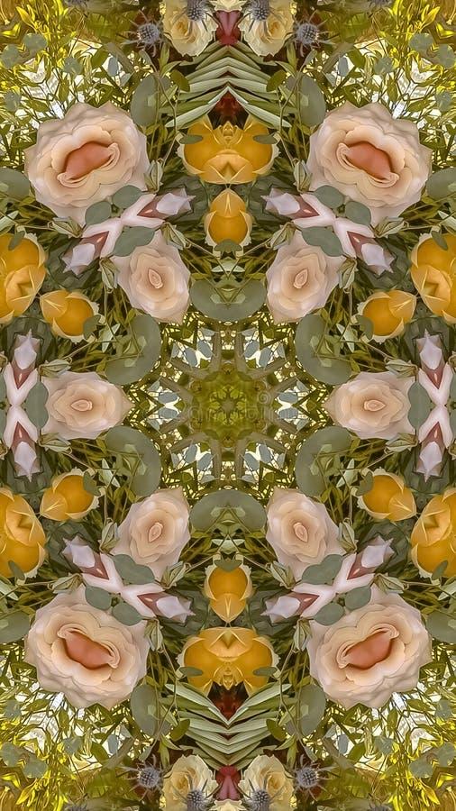 垂直的框架桃红色和黄色花被做成背景的一个圆设计 免版税库存照片