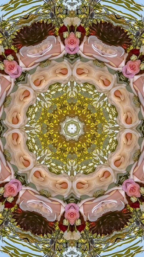 垂直的框架桃红色玫瑰和绿色叶子被做成抽象形状在一个加利福尼亚婚礼的日落与通报 库存例证