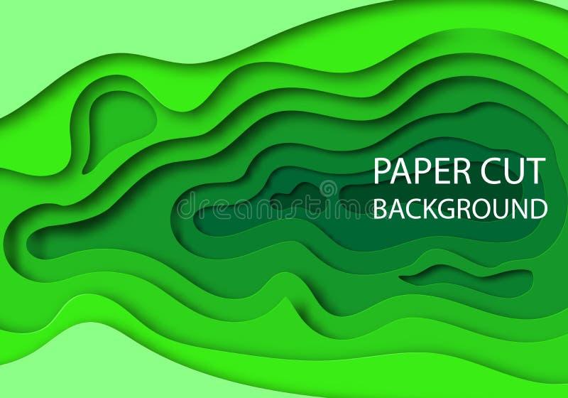 垂直的横幅有3D与纸的抽象绿色背景削减了形状 传染媒介事务的设计版面 库存例证