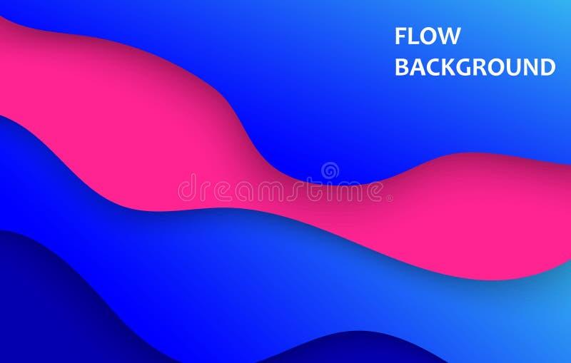 垂直的横幅有3D与纸的抽象蓝色背景削减了形状 传染媒介企业介绍的设计版面 皇族释放例证