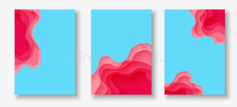 垂直的横幅有3D与纸的摘要背景削减了形状 传染媒介设计版面 库存例证