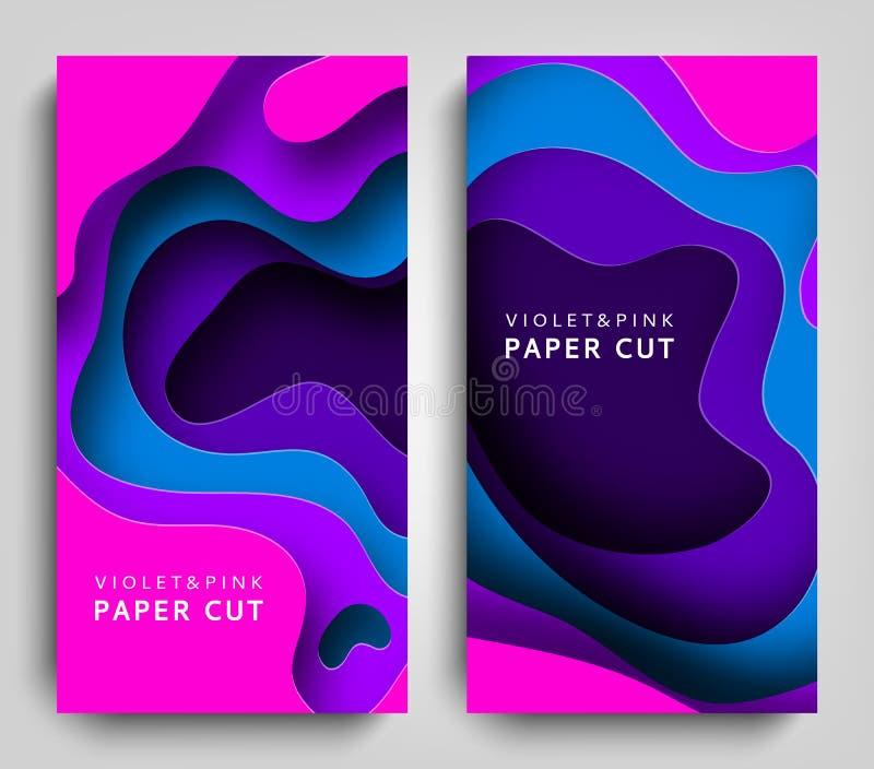垂直的横幅纸裁减 在紫罗兰色和蓝色颜色的纸艺术 3D与纸裁减形状的摘要背景 雕刻 皇族释放例证