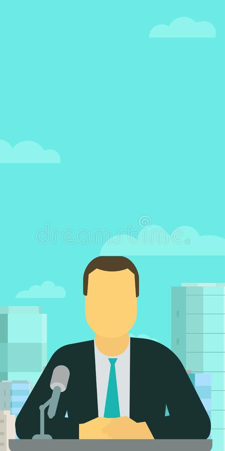 垂直的横幅 播报员现场报道员 做在话筒的电视赠送者报告 反对天空和城市 向量例证