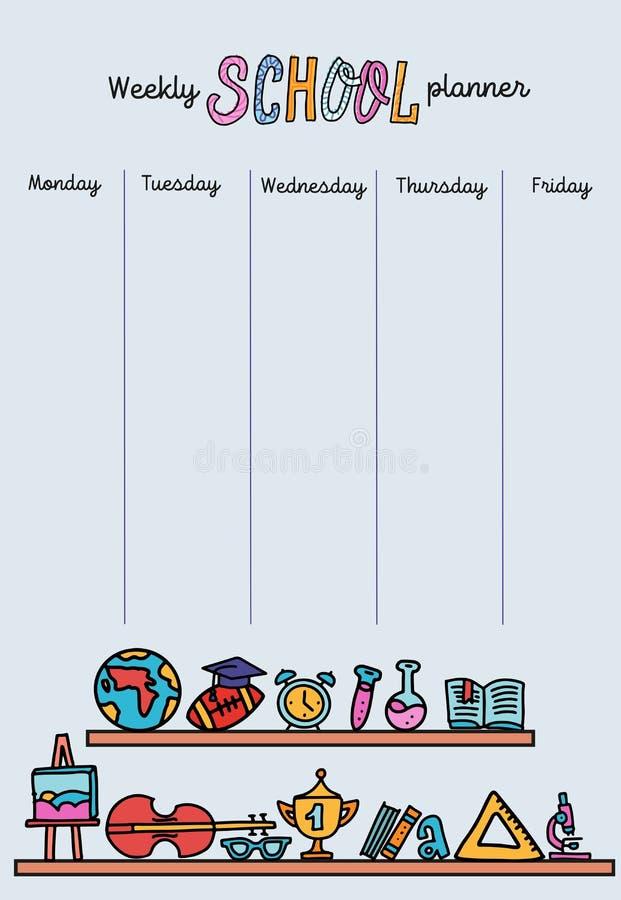 垂直的每周计划者模板 组织者和日程表与地方笔记的 传染媒介手拉的线doolde例证  库存例证