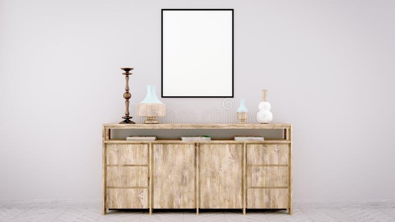 垂直的海报嘲笑与在墙壁上的木制框架在客厅内部 3d翻译 向量例证