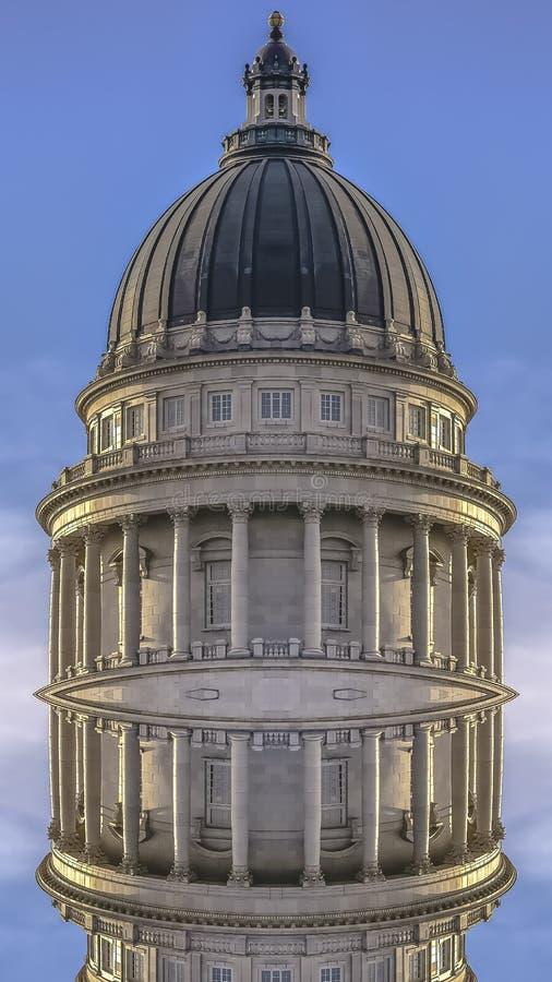 垂直的犹他国家资本的框架双重被反映的圆顶 皇族释放例证