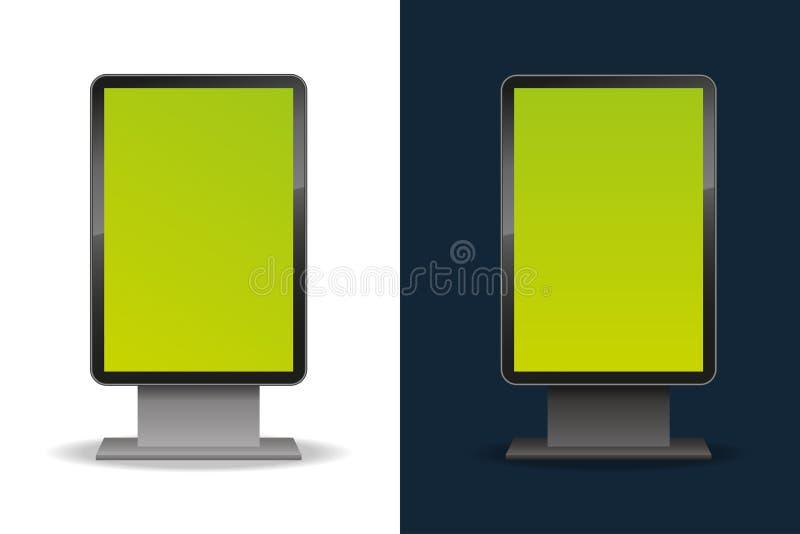 垂直的空白的模板室外lightbox 空白广告牌 对您的广告和设计 库存例证