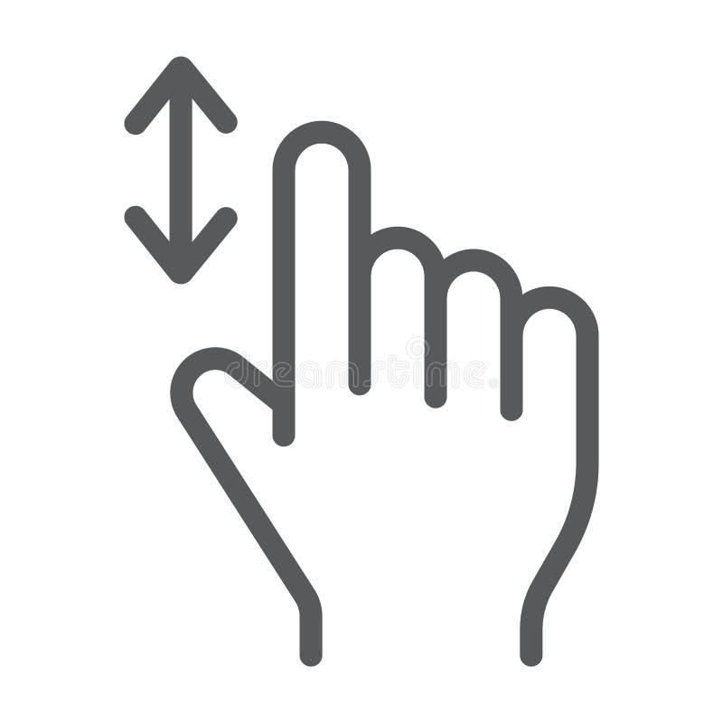 垂直的纸卷线象,手指和姿态,手标志,向量图形,在白色背景的一个线性样式 皇族释放例证