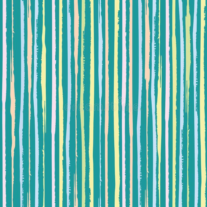 垂直的美术的桃红色,蓝色,珊瑚淡色条纹 在绿松石小野鸭背景的密集的无缝的传染媒介样式 极大 皇族释放例证