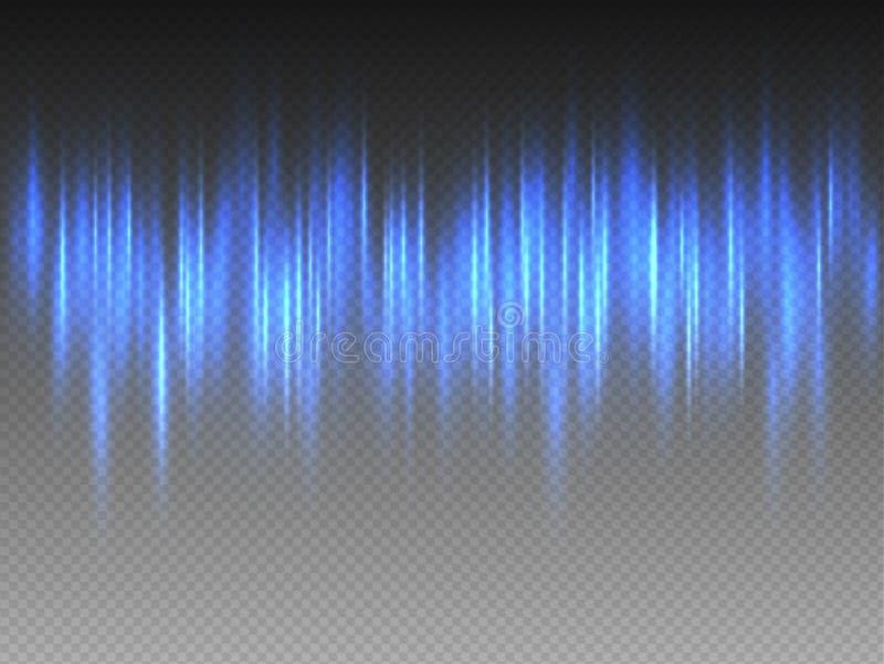垂直的蓝色在透明背景的发光焕发脉动的光芒 导航极光Borealis光线影响的抽象例证 向量例证