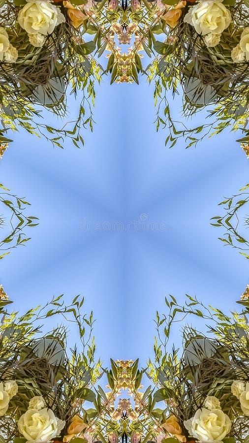 垂直的通报和有角花卉设计与五颜六色的花从婚礼 库存图片
