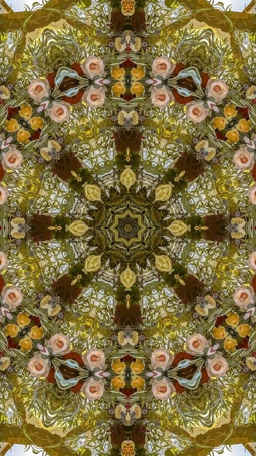 垂直的Subltel上色了在圆安排的花在婚礼在加利福尼亚 免版税库存图片