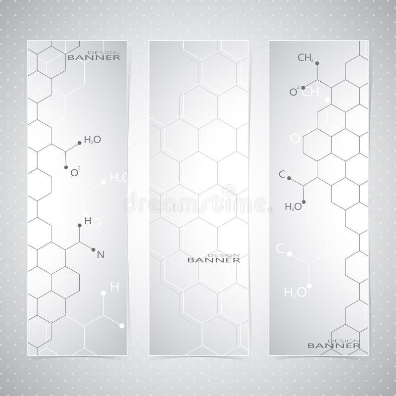 垂直的分子套在灰色的横幅 向量例证