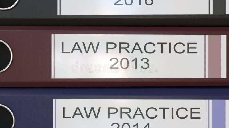 垂直的堆与诉讼手续的多色办公室黏合剂标记回报不同的岁月的3D 皇族释放例证