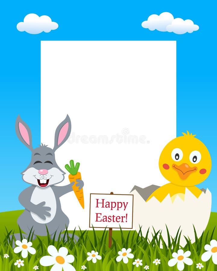 垂直的复活节框架-兔子&小鸡 向量例证