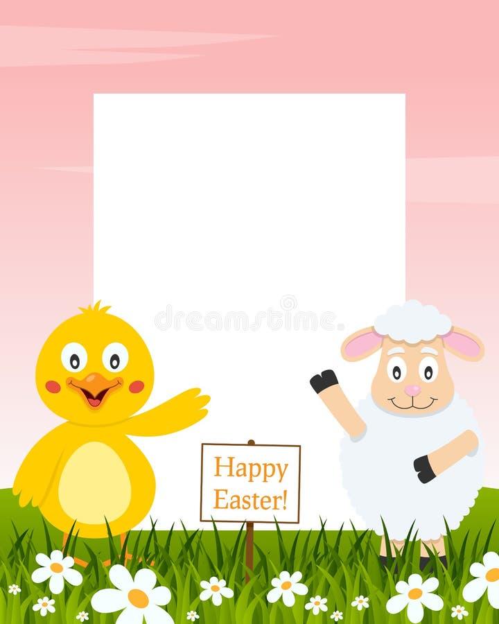 垂直的复活节框架-小鸡和羊羔 皇族释放例证