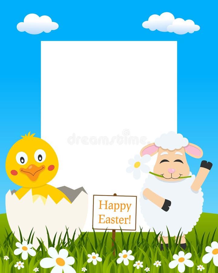 垂直的复活节框架-小鸡&羊羔 库存例证