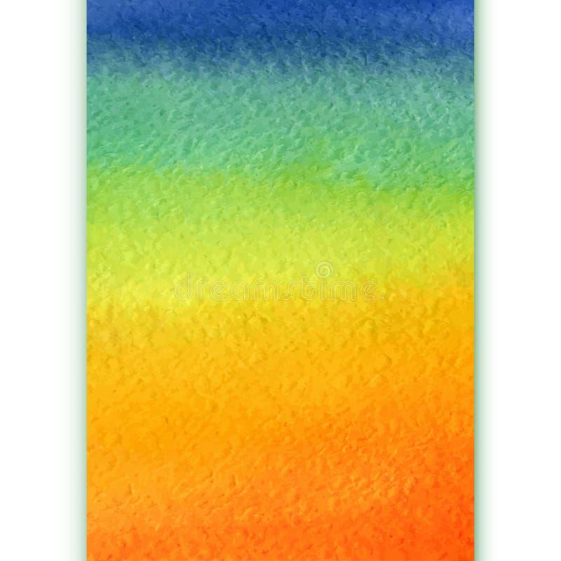 垂直的水彩彩虹梯度背景 向量例证