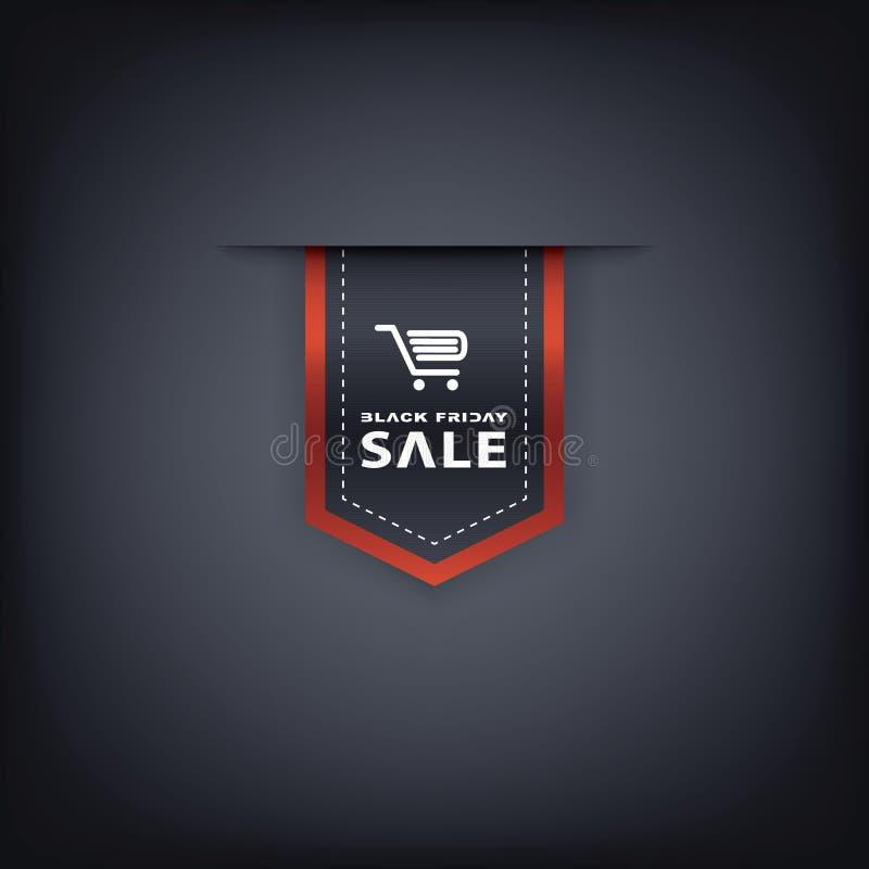垂直的黑星期五销售丝带 Eps10向量 向量例证