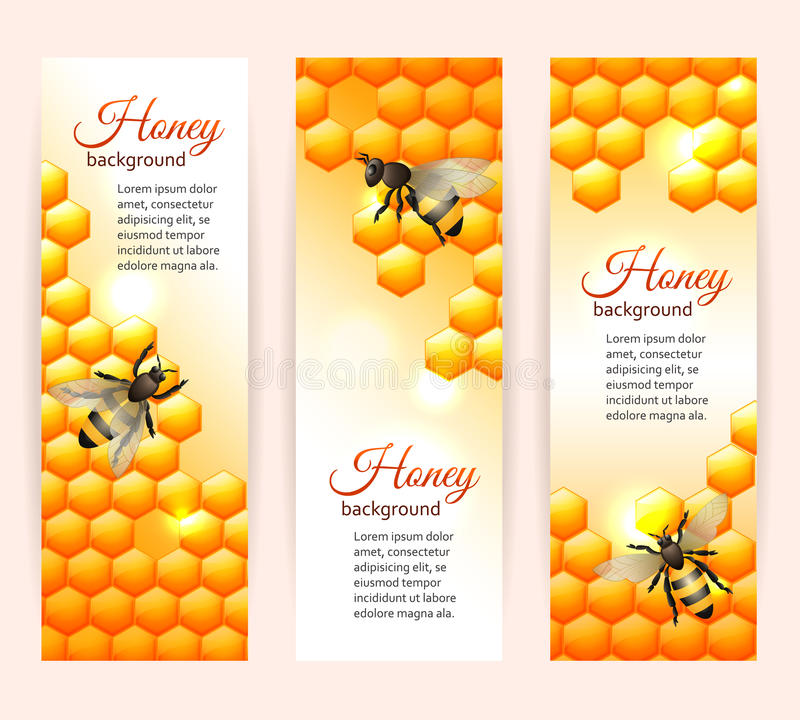 垂直蜂的横幅 库存例证